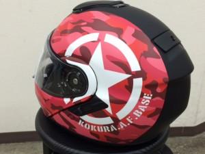 ショウエイネオテックヘルメットラッピング貼り完成左後ろ