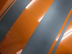 ホンダcrzレーシングストライプ施工完成ボンネットシルバーカーボン