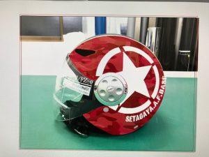 ヘルメットラッピング子供用ヘルメット迷彩カラー施工前合成画像画面