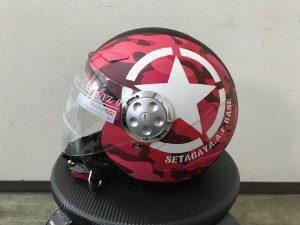 ヘルメットラッピング子供用ヘルメット迷彩カラー完成左