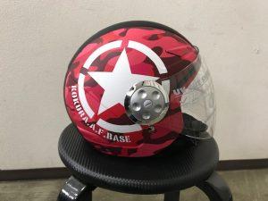 ヘルメットラッピング子供用ヘルメット迷彩カラー完成右