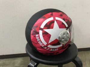 ヘルメットラッピング子供用ヘルメット迷彩カラー完成右後ろ