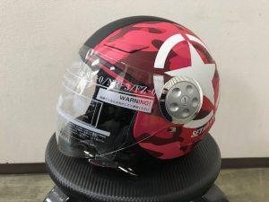 ヘルメットラッピング子供用ヘルメット迷彩カラー完成左前